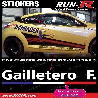 Adhesifs Noms Pilotes 2 stickers NOM PILOTE drift rallye style Design - Lettrage blanc Run-R Stickers