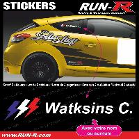 Adhesifs Noms Pilotes 2 stickers NOM PILOTE drift rallye style FLASH - Lettrage blanc Run-R Stickers
