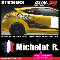 Adhesifs Noms Pilotes 2 stickers NOM PILOTE drift rallye style FRANCE - Lettrage blanc