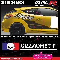 Adhesifs Noms Pilotes 2 stickers NOM PILOTE drift rallye style TETE DE MORT - Lettrage blanc Run-R Stickers