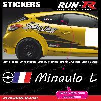 Adhesifs Noms Pilotes 2 stickers NOM PILOTE drift rallye style VOLANT PILOTE - Lettrage blanc Run-R Stickers