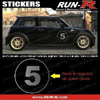 Adhesifs Numeros 2 stickers NUMERO DE COURSE 28 cm - ARGENT - TOUT VEHICULE Run-R Stickers