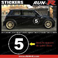 Adhesifs Numeros 2 stickers NUMERO DE COURSE 28 cm - BLANC - TOUT VEHICULE Run-R Stickers