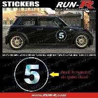 Adhesifs Numeros 2 stickers NUMERO DE COURSE 28 cm - CHROME - TOUT VEHICULE Run-R Stickers