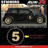 Adhesifs Numeros 2 stickers NUMERO DE COURSE 28 cm - DORE - TOUT VEHICULE