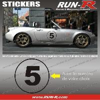 Adhesifs Numeros 2 stickers NUMERO DE COURSE 28 cm - NOIR - TOUT VEHICULE Run-R Stickers