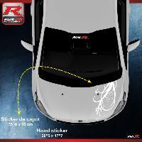 Adhesifs Peugeot 1 sticker capot compatible avec PEUGEOT 206 207 et 208 - FLORAL - BLANC