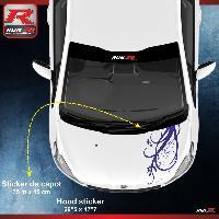 Adhesifs Peugeot 1 sticker capot compatible avec PEUGEOT 206 207 et 208 - FLORAL - Marine
