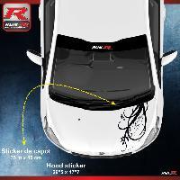 Adhesifs Peugeot 1 sticker capot compatible avec PEUGEOT 206 207 et 208 - FLORAL - NOIR