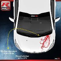 Adhesifs Peugeot 1 sticker capot compatible avec PEUGEOT 206 207 et 208 - FLORAL - Rouge