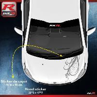 Adhesifs Peugeot 1 sticker capot pour PEUGEOT 206 207 et 208 - FLORAL - Argent Run-R Stickers