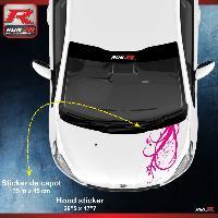 Adhesifs Peugeot 1 sticker capot pour PEUGEOT 206 207 et 208 - FLORAL - ROSE Run-R Stickers