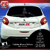 Adhesifs Peugeot 1 sticker keep calm pour PEUGEOT 208 - Argent Run-R Stickers