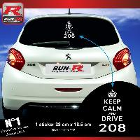 Adhesifs Peugeot 1 sticker keep calm pour PEUGEOT 208 - BLANC Run-R Stickers