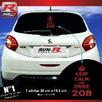 Adhesifs Peugeot 1 sticker keep calm pour PEUGEOT 208 - ROUGE Run-R Stickers