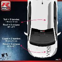 Adhesifs Peugeot 2 stickers Bandes Racing compatible avec le toit et le capot des PEUGEOT 208 et 207 - Argent