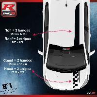Adhesifs Peugeot 2 stickers Bandes Racing compatible avec le toit et le capot des PEUGEOT 208 et 207 - NOIR