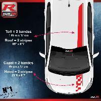 Adhesifs Peugeot 2 stickers Bandes Racing compatible avec le toit et le capot des PEUGEOT 208 et 207 - ROUGE