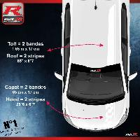 Adhesifs Peugeot 2 stickers Bandes Racing pour le toit et le capot des PEUGEOT 208 et 207 - BLANC Run-R Stickers