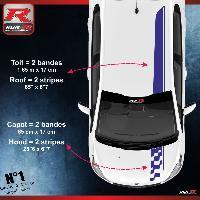 Adhesifs Peugeot 2 stickers Bandes Racing pour le toit et le capot des PEUGEOT 208 et 207 - MARINE Run-R Stickers