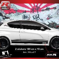 Adhesifs Peugeot 2 stickers bas de caisse 000AN pour PEUGEOT 208 et 207 - Noir Run-R Stickers