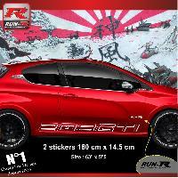 Adhesifs Peugeot 2 stickers bas de caisse 000JB pour PEUGEOT 208 GTi - Blanc Run-R Stickers