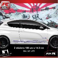 Adhesifs Peugeot 2 stickers bas de caisse 000JM pour PEUGEOT 208 GTi - Marine Run-R Stickers