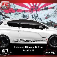 Adhesifs Peugeot 2 stickers bas de caisse 000JN pour PEUGEOT 208 GTi - Noir Run-R Stickers