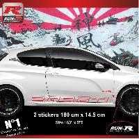 Adhesifs Peugeot 2 stickers bas de caisse 000JR pour PEUGEOT 208 GTi - Rouge Run-R Stickers