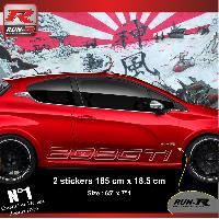 Adhesifs Peugeot 2 stickers bas de caisse 000KA pour PEUGEOT 208 GTi - Argent Run-R Stickers