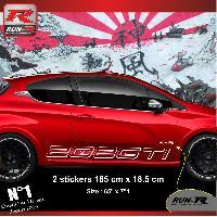 Adhesifs Peugeot 2 stickers bas de caisse 000KB pour PEUGEOT 208 GTi - Blanc Run-R Stickers