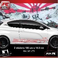 Adhesifs Peugeot 2 stickers bas de caisse 000KR pour PEUGEOT 208 GTi - Rouge Run-R Stickers