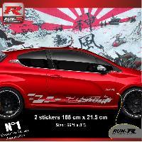 Adhesifs Peugeot 2 stickers bas de caisse 000LA pour PEUGEOT 208 GTi Argent Run-R Stickers