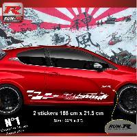 Adhesifs Peugeot 2 stickers bas de caisse 000LB pour PEUGEOT 208 GTi Blanc Run-R Stickers