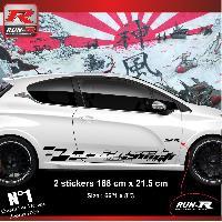 Adhesifs Peugeot 2 stickers bas de caisse 000LN pour PEUGEOT 208 GTi NOIR Run-R Stickers