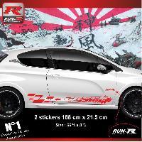 Adhesifs Peugeot 2 stickers bas de caisse 000LR pour PEUGEOT 208 GTi ROUGE Run-R Stickers