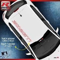 Adhesifs Peugeot Sticker de toit pour PEUGEOT 208 GTI - ROUGE Run-R Stickers