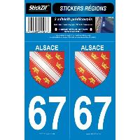 Adhesifs Plaques Immatriculation 2 ADHESIFS -REGION- DEPARTEMENT 67 ALSACE