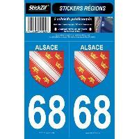 Adhesifs Plaques Immatriculation 2 ADHESIFS -REGION- DEPARTEMENT 68 ALSACE Generique