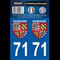 Adhesifs Plaques Immatriculation 2 Adhesifs Region Departement 71 Bourgogne Generique