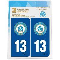Adhesifs Plaques Immatriculation 2 Autocollants Dep 13 pour plaque immatriculation OM Olympique De Marseille
