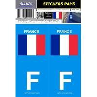 Adhesifs Plaques Immatriculation 2 autocollants Pays drapeau FRANCE
