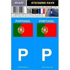 Adhesifs Plaques Immatriculation 2 autocollants Pays drapeau PORTUGAL Generique
