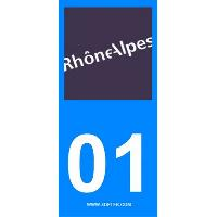 Adhesifs Plaques Immatriculation 2 autocollants Region Departement 01