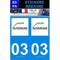Adhesifs Plaques Immatriculation 2 autocollants Region Departement 03