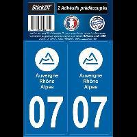 Adhesifs Plaques Immatriculation 2 autocollants Region Departement 07