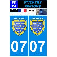 Adhesifs Plaques Immatriculation 2 autocollants Region Departement 07 version 2