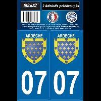 Adhesifs Plaques Immatriculation 2 autocollants Region Departement 07 version 2