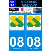 Adhesifs Plaques Immatriculation 2 autocollants Region Departement 08