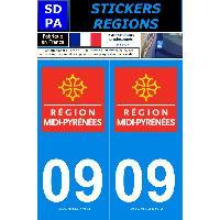 Adhesifs Plaques Immatriculation 2 autocollants Region Departement 09